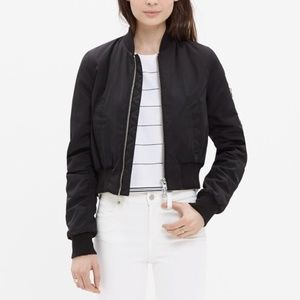 Madewell Side-Zip Bomber Jacket in Black